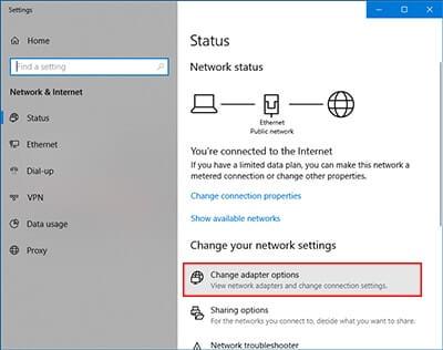 pilihan change adapter options di settings