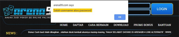 error salah username atau password web